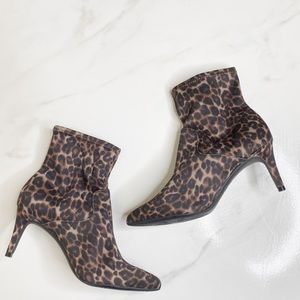 1901 Cheetah Print Sock Boot Kitten Heel 6